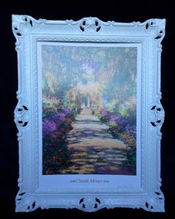 Gemälde von Monet The Garden Blumen Bilderrahmen Weiß Wandbild Antik Garden 01
