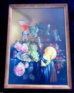 Bild mit Holz Rahmen Blumen Obst Gemälde76 x 56 BILDERRAHMEN Kunstdruck