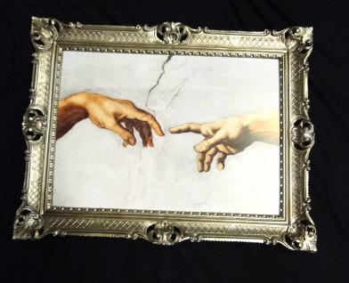 Bild mit Rahmen Michelangelo DIE ERSCHAFFUNG ADAMS Hand Gemälde 90x70 Ikonen