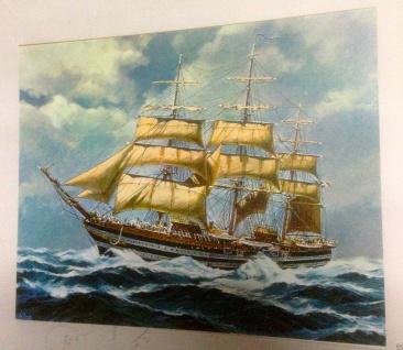 Segelschiff Meer Wandbild 50x70cm Kunstdruck auf MDF Platte Rückwand Schiffe