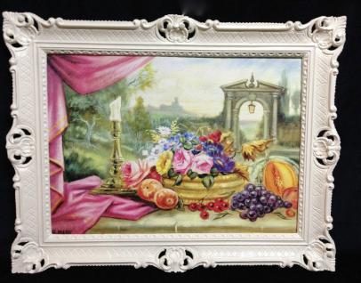 Gemälde mit Obst und Blumen Bilder Gedeckte Tisch 90x70 Bild mit rahmen 01-01