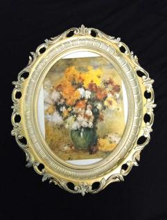 Bild mit Rahmen Blumen Gemälde Bilderrahmen groß ANTIK BAROCK 58X68 Fotorahmen