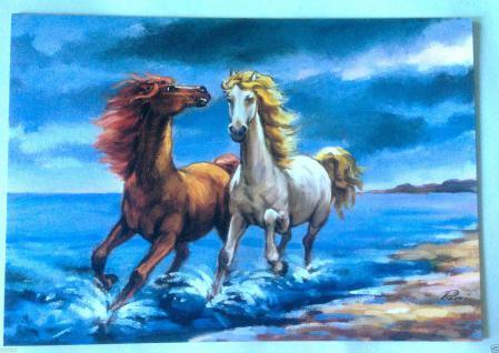 Wandbild Pferde Bild Pferde am Meer 50x35 Bild auf MDF Platte Gemälde PFERD