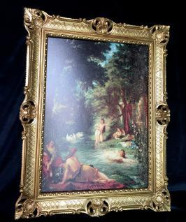 Frauen in Fluss Badende Frauen mit Rahmen Historische Bild 90x70 Kunstdruck