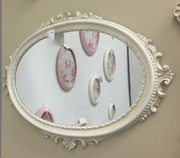 Wandspiegel Antik weiß Oval Barock Spiegel Creme 62x48cm Flurspiegel C12