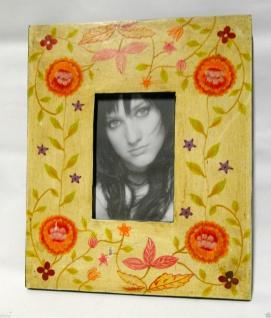 Bilderrahmen HOLZ Antik 24x30 Blume Motiv 10x15 Ausstellungsstück Fotorahmen