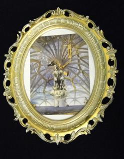 Pferd Bild Gemälde Tiere Kunstdruck mit Rahmen Bilderrahmen Gold weiß 68x58