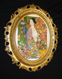 Bild mit Rahmen Bilderrahmen Oval Gold Bild Frau Die Tänzerin 58x68cm
