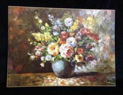 Blumen Bilder 70x50 Blumen mit Vase Blau Bild auf MDF Platte 01-04 Rahmenlos
