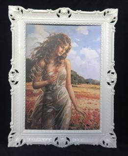 Gemälde Frau Nackt Frauenakt in Mohnfeld Aktgemälde 90x70cm Barock Rahmen D8