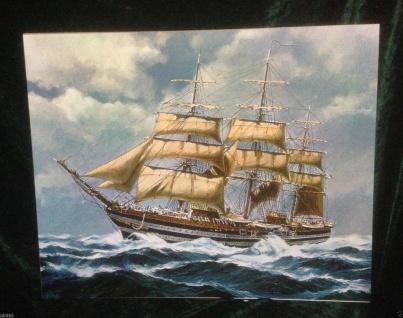 Segelschiff Meer Wandbild 50x40 Kunstdruck auf MDF Platte Rückwand Schiffe Br