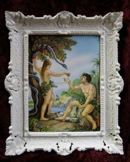 Heiliege Bild Adam und Eva im Paradies die verbotene Frucht 56x46 Gemälde Weiß