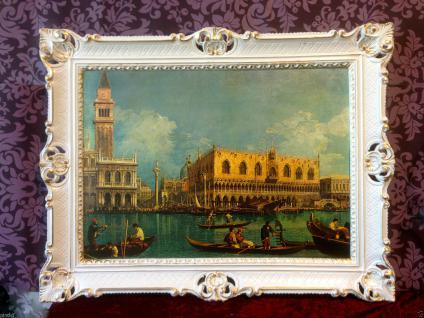 Bild mit Rahmen Weiß-Gold Wandbild NOSTALGIE ITALIEN 90x70 Venedig Bild gondol