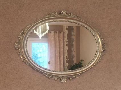 Wandspiegel Silber Oval Hochglanz 62x48 Barock Badspiegel Antik Flurspiegel
