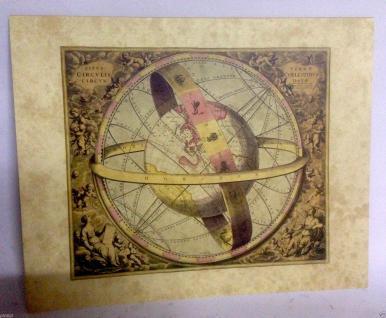 Weltkarte Mittelalter Antik Bild 50x40 Kunstdruck MDF Platte Rückwand Wandbild