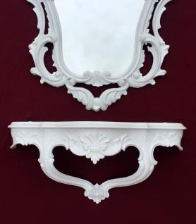 Wandkonsole Weiß mit Wandspiegel Antik Barock 50x76 Wandregal Badspiegel