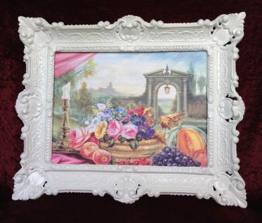 Gemälde Rosen Obst Weintrauben 56x46 Bild mit Rahmen romantisch gedeckte Tisch