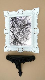 Wandspiegel mit Konsole Medium Spiegelablage 45 X 37 ANTIK BARock Weiß-Schwarz