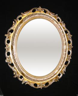 Wandspiegel Spiegel Gold / Weiß Jugendstil Rokoko Oval Antik 58x68 BAROCK 41 DB
