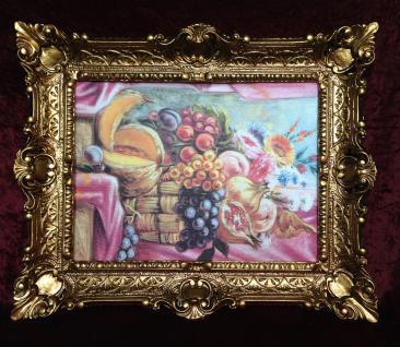 Gemälde Rosen Obst Weintrauben Wandbild 57x47 Bild mit Rahmen Obst Oase in Korb