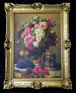 Gerahmte Gemälde Blumen Bilder 90x70 Blumenbild mit Rahmen Weintrauben Bild B5