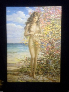 Gemälde Frau Nackt Frauenakt Aktgemälde Wandbild 90x70 ohne Rahmen MDF Rückwand