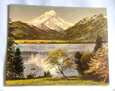 Landschaftsgemälde Landschaft Bild Berge und See 50x40 Kunstdruck auf MDF Berge