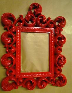 Wandspiegel Spiegel Barock 64X54 ROT Bilderrahmen Jugendstil Badspiegel Deko