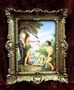 Heiliege Bild Adam und Eva im Paradies die verbotene Frucht 56x46 Gemälde Gold