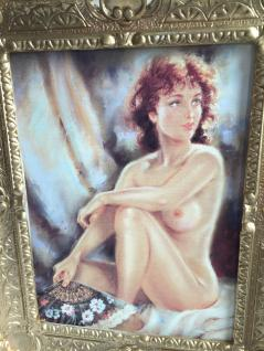 Akt Erotik Gemälde Frau Kunstdruck 56x46 Fächer Nackt Bild & Rahmen Barock Gold