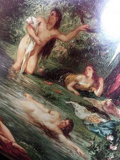 Frauen in Fluss Badende Frauen Historische Bild 50x70 Kunstdruck auf MDF platte