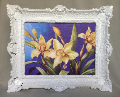 Gemälde Blumen Lilien Gelb Wandbild 57x47 Blumen Bild mit Rahmen Weiß 05