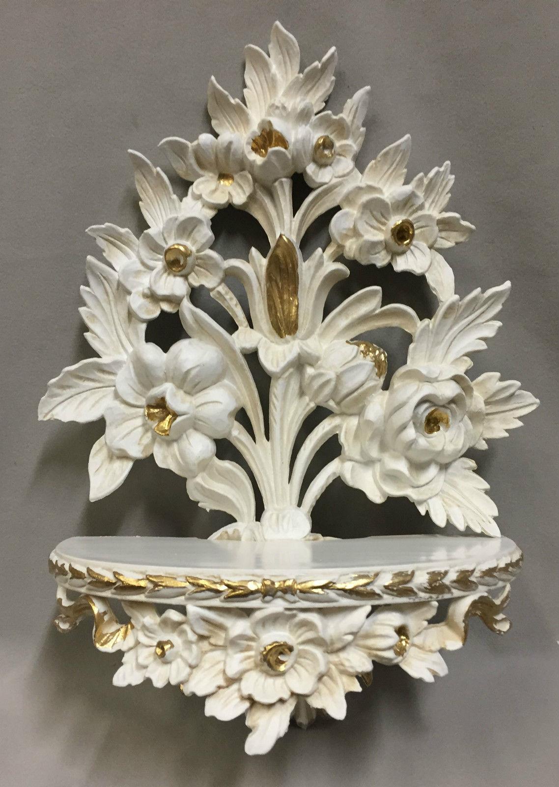 Wandkonsole Weiss Gold /Spiegelkonsolen/Wandregal BAROCK/Deko H:35 Blumen cp82