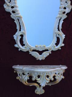 Wandspiegel mit Konsole Weiß Gold Antik Barock 50x76 Wandregal Badspiegel Ablage