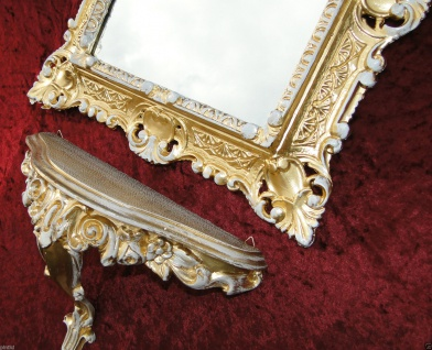 Set Vintage Wandkonsole & Wandspiegel Gold-Weiss Antik Ablage BAROCK Regale deko