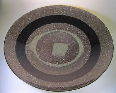 Dekoschale Obstschale Glitzer-BRAUN 38x6cm schale behälter glasschale deko rund