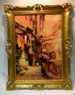 Gemälde Teppich Verkäufer orientalisches Bild 90x70cm Barock Ölbild Kunstdruck