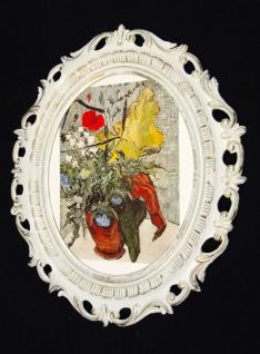 Van GOGH Wandbilder Blumen 68x58 Gemälde Blumen Bilderrahmen Weiß-GOLD Y840wg