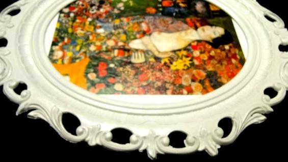 Gemälde Frau Tänzerin Wandbilder Blumen Frau 68x58 Bilderrahmen Weiß y230w