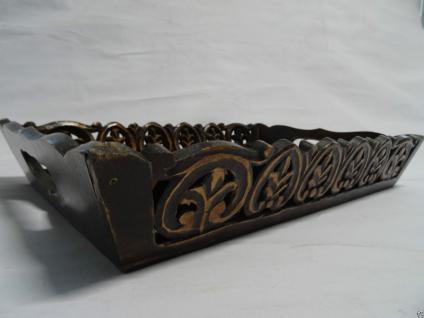 Tablett Klein Braun Rustikal Shabby Deko Ornament Ranaissance Serviertablett S