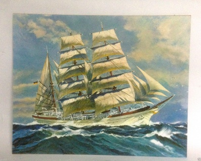 Seegelschiff Bild Wandbild 50x40 Kunstdruck auf MDF Platte Rückwand Schiffe W
