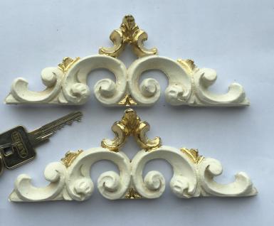 2 Wanddeko Barock Wandbehang Weiß Gold Deko 16x6cm Wandrelief Deko Antik C1539