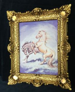 Bild mit Rahmen Pferde Wandbild mit Rahmen 57x47 Wanddeko PFERD Gemälde