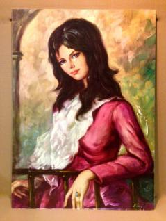 Die Frau in Rot Gemälde Wandbild 30x40 ohne Rahmen MDF Rückwand Bild Dame