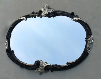 Wandspiegel Schwarz Silber Oval 52x42 Jugendstil Flurspiegel Antik Barock C17