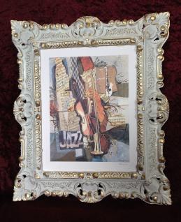 Bild mit Rahmen Musik Instrumente Jazz Trompete Saxophon Geige 45x38 Cafe Bild
