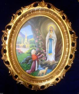 Barock Gemälde OVAL MADONNA DI LOURDES Ikonen Bild Repro Antik look MUTTER MARIA