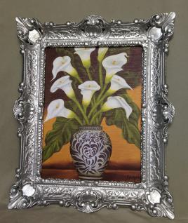Bild mit Rahmen SILBER Blumen Calla in Vase Wandbild 57x47 Gerahmte Gemälde 08