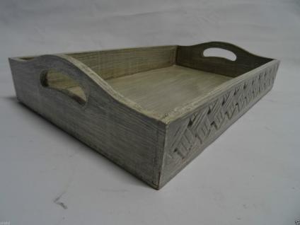 Serviertablett S Holz Landhausstil Shabby Tablett Chic Grau Neu Deko Geschenk