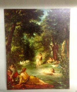 Frauen in Fluss Badende Frauen Historische Bild 30x40 Kunstdruck auf MDF platte